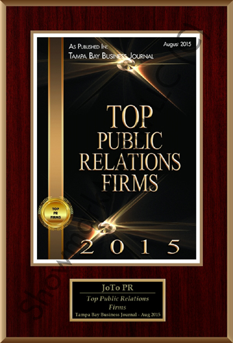 JoTo PR - Top Public Relations Firms, Tampa Bay Business Journal, August 2015